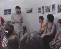 Silye Barna tanár úr, gyülekezeti gondnok megnyitja a kiállítást